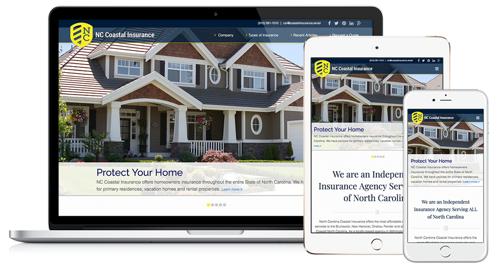 NC Coastal Insurance Web Design // Image Design Digital Marketing