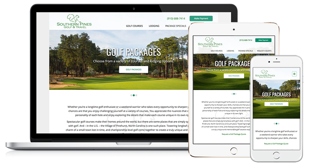 Southern Pines Golf & Travel Web Design // Image Design Digital Marketing
